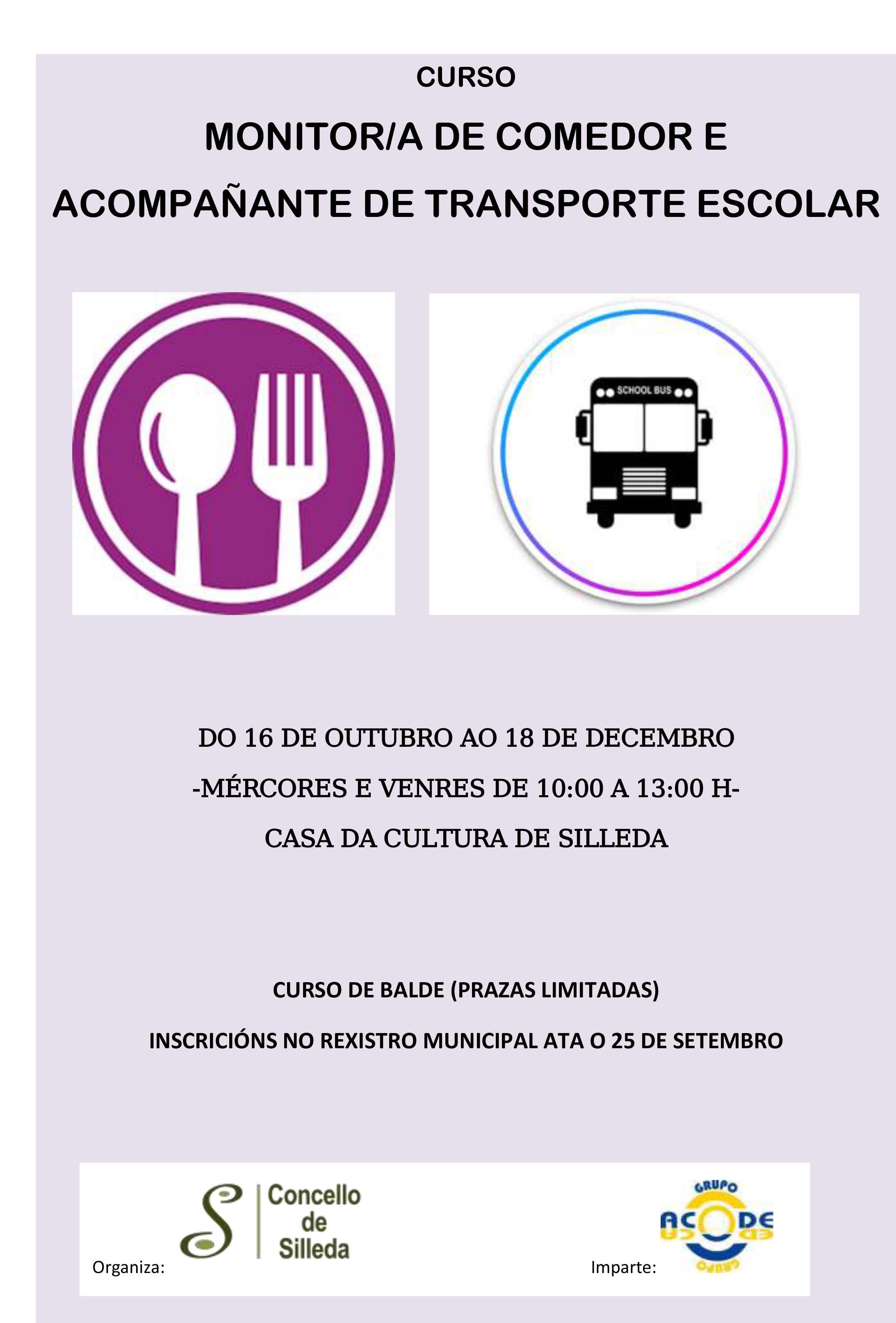 O Concello de Silleda organiza un curso de monitor/a de transporte e comedor escola