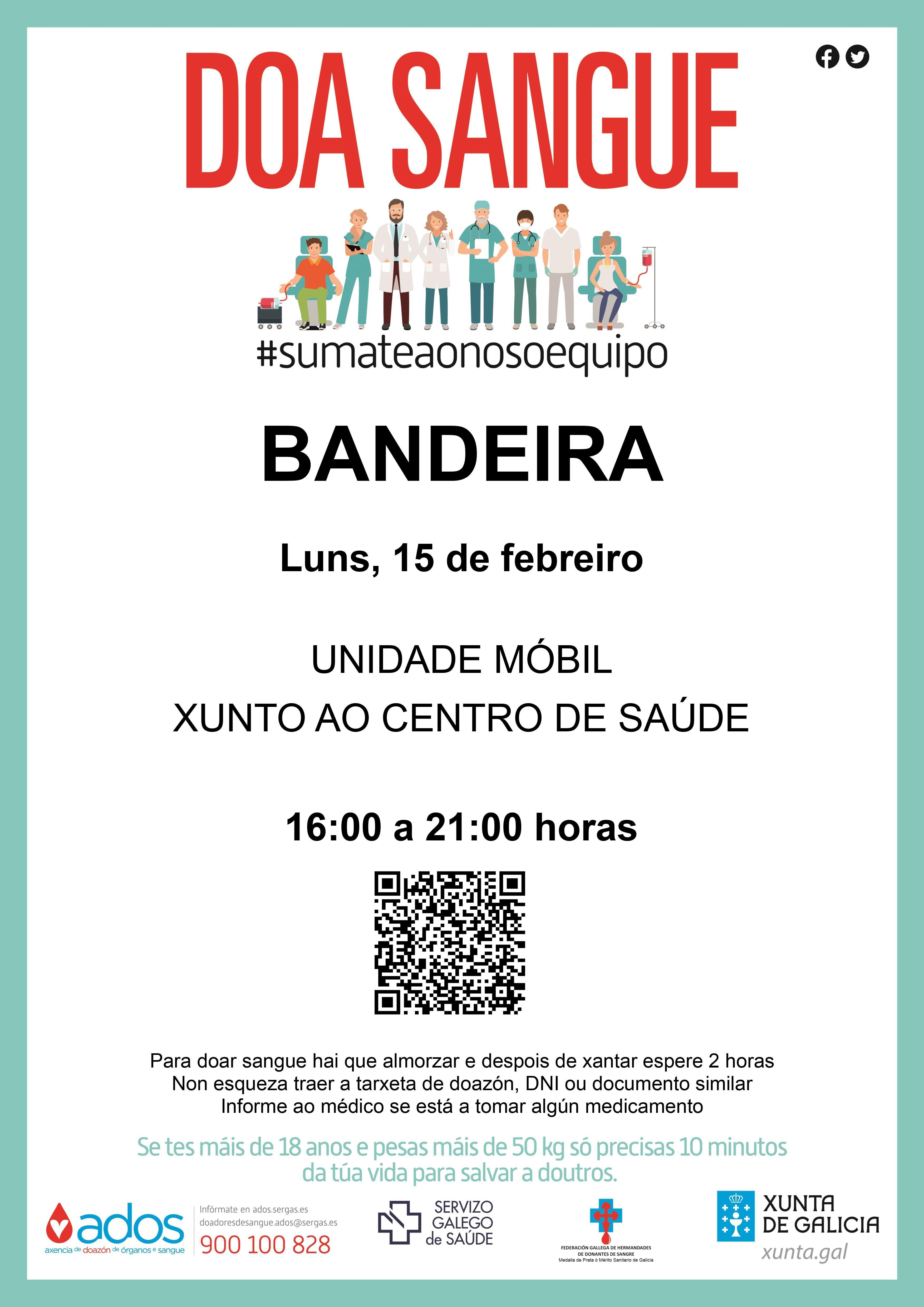 A Unidade Móbil do Centro de Transfusión de Sangue de Galicia visita a localidade da Bandeira o vindeiro luns